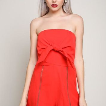 Won't Let You Fall Strapless Front Tie Romper (Red)