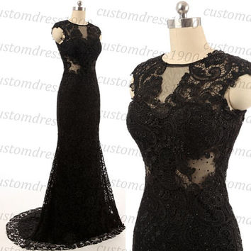 Black Sexy Mermaid Evening Dress Cap Sleeve Lace Formal Women Dresss,Handmade Lace Evening Gowns/Prom Dress/Party Dress
