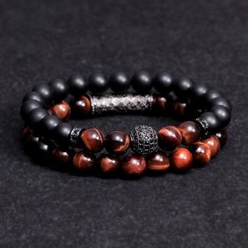 New arrive Men Woman Blue tiger eyes Bead Bracelet 10MM Micro Pave CZ Beaded Black Buddha Bracelet for Women and Men