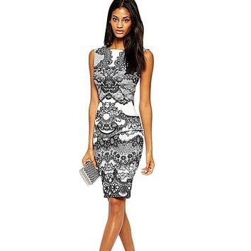 Women Pencil Dress Elegant Vintage Bodycon Summer Floral Flower Print Round Neck Party Clubwear Sheath Bodycon midi Vestidos