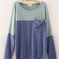 Loose Bat Sleeve Women Sweater Blue$38.00