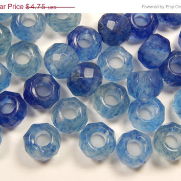 ON SALE 5 Pieces of 12mm Clear and Blue Treated Stone Large Hole Beads, Faceted Gemstones, European Style, 5mm Hole, Rondelle Shape, Smooth