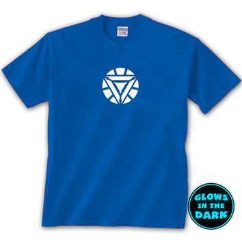 Iron Man 3 2013 Movie Tony Stark Arc Reactor Glow In The Dark T-Shirt, New, Printed in USA, (Sizes Youth XSmall - 4XL)