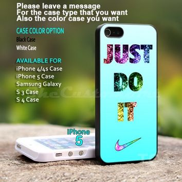Nike Just Do It cyan bling - For iPhone 5 Black Case Cover
