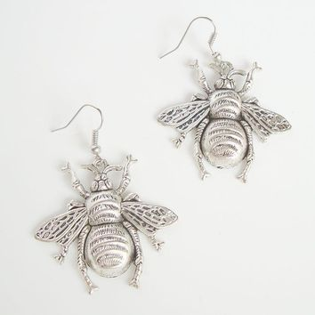 Large Bumble Bee Earrings Silvertone Cute Insect Figural Jewelry