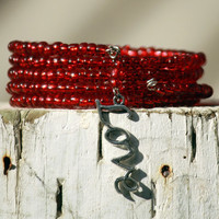 Red Glass Beaded Wrap Bracelet With Love Charm