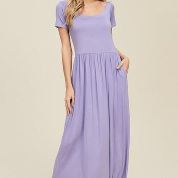 Boat Neck Knit Maxi Dress - Lavender