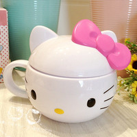 Lovely hello Kitty child Feeding Cup Cartoon Animal Covered with handles Children's Water Bottle Drinking Cup Milk Cup Non-toxic