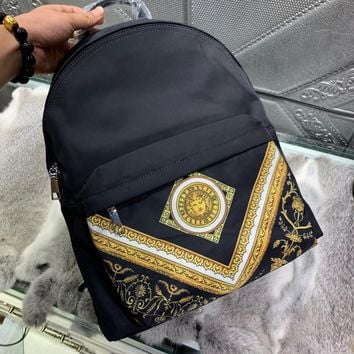2020 New Office VERSACE size 32x41x12 cm Women men black Canvas Saddle back pack travel bags Monogram Handbag Neverfull Bags Tote Shoulder   Bag Wallet Purse Bumbag Discount Cheap Bags Best Quality