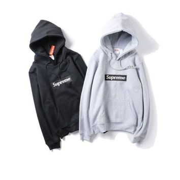 Supreme Hooded Embroidered Cloak Letter Plus Velvet Sweater Couple