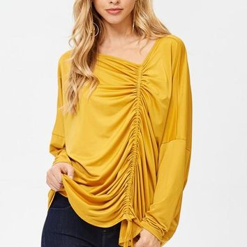Mustard Yellow Long Sleeves Solid Top