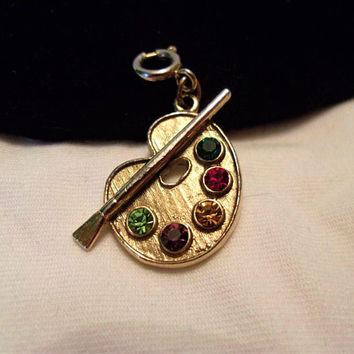 Vintage Painter's Art Palette Paintbrush Glass Rhinestone Gold Plate Charm for Bracelet 1960's