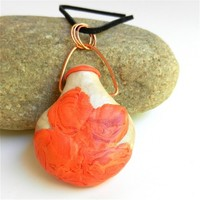 Pearl and Coral Flask Pendant Designed Hand Sculpted by Polly Ceramica