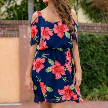 Sweet and Simple Navy Floral Cold Shoulder Dress Shop Simply Me Boutique Shop SMB – Simply Me Boutique