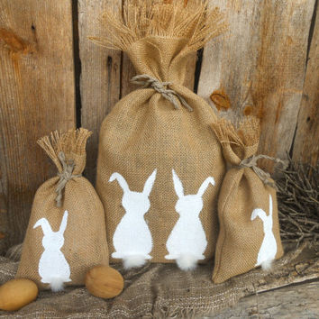 Baby Shower Party Favor Bag Easter Bunny Gift Bag Easter Gift Bag Easter Favor Bag Easter Basket Gift Bag Easter Decor Burlap Gift Bag
