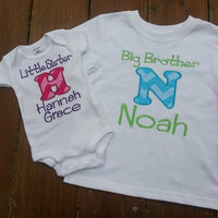 Big Brother Little Sister Sibling Initial  Shirt/ Oneise with Monogram set