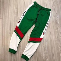 Champion Popular Women Men Leisure Embroidery Sport Stretch Pants Trousers Sweatpants Green I-AA-XDD
