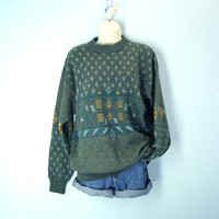 Vintage 1980s Sweater Thick Wool Southwestern Sun Valley