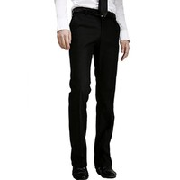 Men Belt Loop Multi Pocket Zip Fly Suit Pants Solid Black W30