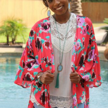 Draped in Beauty Red Floral Kimono