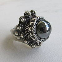 Vintage Taxco Hematite  N Silver Ring, Adjustable Sizing, Mexico Handmade, 1950s Silver Hematite Ring, Very Good Condition, Holiday BLING