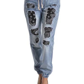 Women's Bandana Distressed Denim Jogger Pants RJJ332 - D3D