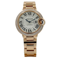 Cartier Rose Gold Diamond Bezel Ballon Bleu Automatic Wristwatch Ref W902034