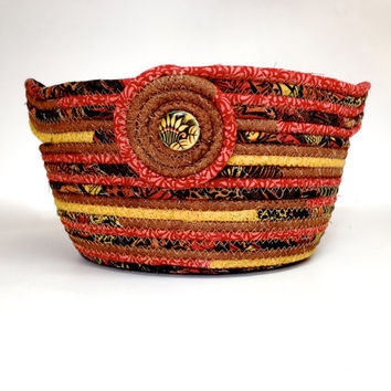 Large Coiled Rope Basket - Fall Clothesline Bowl - Rust Brown Gold Organizer - Quilted Fiber Art - Autumn Decor - Handmade Fabric Bowl Quilt