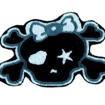 ac spbest Gray Punk Rock Skull Rockabilly Patch Iron on Applique Alternative Clothing Emo