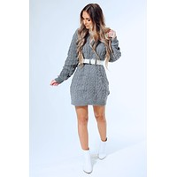 Behind Blue Eyes Sweater Dress: Grey