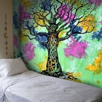 Tess Colorful Tree of Life Boho Fabric Tapestry