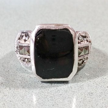 Black Onyx Silver Marcasites Vintage Sterling Ladies Ring Size 8 Gift For Her Sparkling Tapered Wide Band Fabulous Fashionable Rockin' Ring