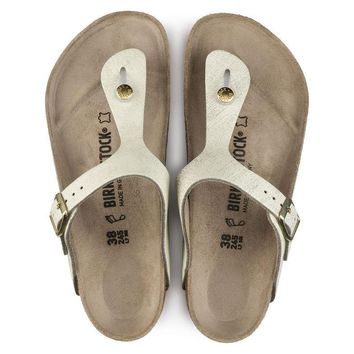 Gizeh Suede Leather Washed Metallic Cream Gold Sandals