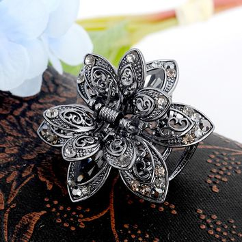 Charming Vintage Flower Crystal Hair Claws Clip Rhinestone Hairpin Hair Jewelry Charm Hair Accessories For Women