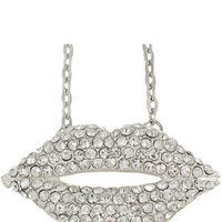 Crystal Lips Necklace in Silver – bandbcouture.com