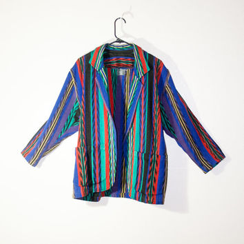1980s 80s tribal colorful blue rainbow coat 1990s 90s fashion hipster goth soft grunge urban outfitters, spring 2014 vintage retro outerwear