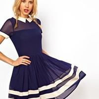 ASOS Skater Dress In Mesh With Contrast Detail And Short Sleeves at asos.com