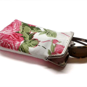 Sunglasses Case Spring Collection - Pink Rose - One-of-A-Kind (OOAK) - cotton canvas - Silver Frame - Ready to ship!