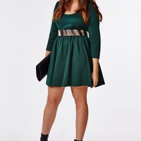 Missguided - Plus Size Ribbed Scuba Skater Dress Teal