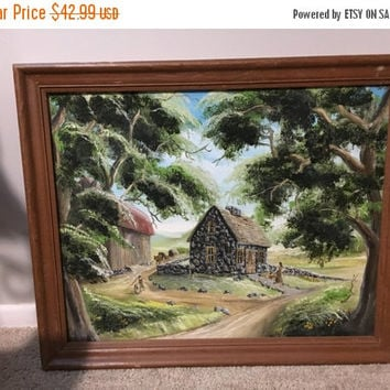 "5 DAY SALE (Ends Soon) Vintage 1983 Original Oil Painting - ""The Homestead Farm"" Signed Barry Byoder"