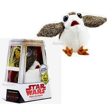 "Licensed cool Star Wars: The Last  Jedi PORG ON BOARD 6"" PLUSH & Car Window Sticker 2017 NIB"