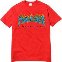 Thrasher Magazine Yellow Flame Logo Red & Light Blue T-Shirt