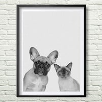 Dog and cat Print, Dog and cat Photo, Printable Art, Dog and cat Art, Home Animals, Black White Dog and cat, Textured, Wall Decor Art *130*