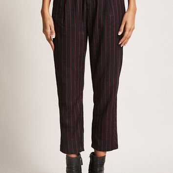 Pinstripe Belted Trousers