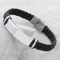 Hot Sale Punk Women Man Simple Steel Color ID Charm Stainless Steel Jewelry Bracelet Black Braid PU Leather Bracelet Bangles