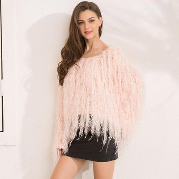 Series Tassel Knitted Mohair Fuzzy Pink Fashion Sweater