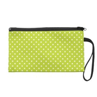 Vivid Lime Green White Polka Dots Wristlet