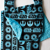 Blue Star Wars Baby Bib & Burp Cloth Set, Geeky Baby Bib Burp Cloths, Minky Baby Bib Burp Rag, Baby Shower Gift Ideas,