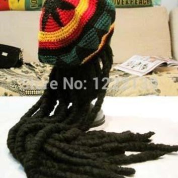Fashion Jamaican Reggae Bob Marley Rasta Beanie Knitted Hat With Dreadlocks Wigs Braid Fancy Dress Hair Wraps For Women And Men