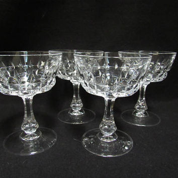 Crystal Champagne Glasses, Champagne Coups, Set of 4.    (1519)